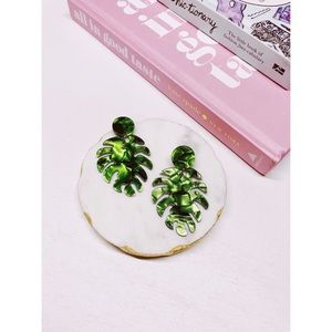 Zoey | Green Resin Tropical Leaf Statement Earring